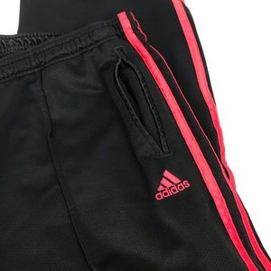 Adidas Black/Pink Stripe Athletic Pants Size XL
